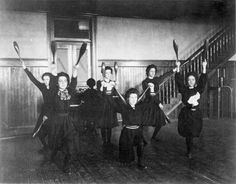 Female students exercising with bowling pins, Western High School. Western High School, High School Girls, Indian Club Exercises, Indiana, Indian Clubs, Katherine Mansfield, Olympic Games Sports, Photography Gallery, Bloomer