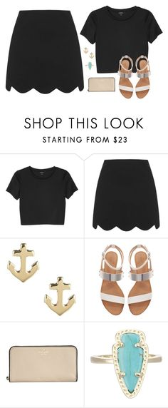 """he said ""let's get out of this town"""" by btravis5252 ❤ liked on Polyvore featuring Monki, Topshop, Sperry Top-Sider, Zara, Kate Spade, Kendra Scott, women's clothing, women, female and woman"