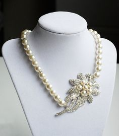 SALE Bridal Pearl Rhinestone Necklace Crystal Wedding by LXdesigns, $36.00