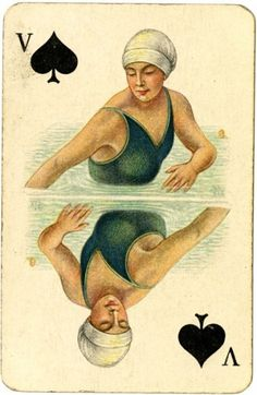 Syncronized Swimming, Amsterdam 1928 from the Worshipful Company of Makers of Playing Cards collection, by London Metropolitan Archives Vintage Playing Cards, Vintage Cards, Vintage Images, London Metropolitan, Collages, Vintage Ephemera, Art Design, Deck Of Cards, Card Games
