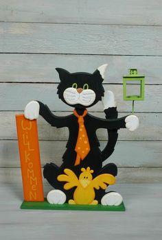 Willkommensschild Katze, sitzend, mit Vogel und Laterne rotes Schild , 40x47 cm Holz-Deko -
