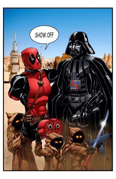 Deadpool meets Darth Vader Art Of Dan, Comic Art, Deadpool, Darth Vader, Cartoon, Superhero, Comics, Fictional Characters, Awesome Art
