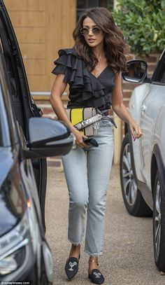 Michelle Keegan cuts glamorous figure in black silk top and mom jeans Doutzen Kroes, Michelle Keegan Hair, Michelle Keegan Wedding, Casual Outfits, Fashion Outfits, Womens Fashion, Victoria Secret, Models, Black Silk