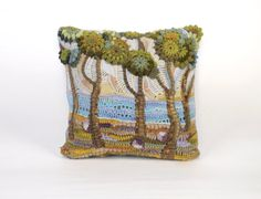 OOAK Crochet freeform ART pillowcase The Mediterranean by Svyazka
