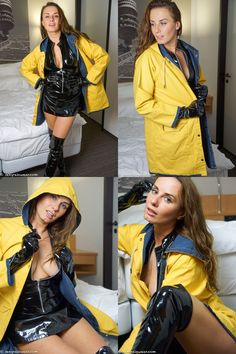 Yellow spice pics) – www. Black Raincoat, Raincoat Outfit, Raincoat Jacket, Pvc Raincoat, Black Rain Jacket, Rain Jacket Women, Rain Fashion, Vinyl Clothing, Outfit