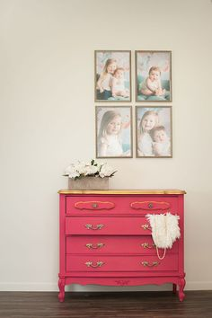On Trend: Pink Chalk Paint® Dressers with Gold Accents – - ASCP Antoinette, Pure White, Burgundy and Barcelona Orange mixed to create this bright pink. Chalk Paint Dresser, Chalk Paint Furniture, Annie Sloan Chalk Paint, Chalk Paint Finishes, Chalk Paint Colors, Chalk Painting, Burgundy Paint, White Burgundy, Pink Chalk