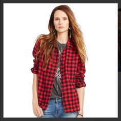 Red Buffalo Plaid tomboy shirt Denim & Supply Ralph Lauren plaid shirt. In excellent condition, worn 1-2. Sold out everywhere! A must have Ralph Lauren Tops