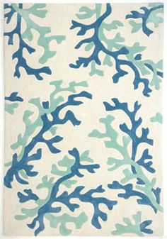 Upstairs hallway- Domestic Modern white rug with green and blue coral print