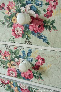 Another great DIY idea to try at home. Just pick out your favorite fabric, vintage table cloth, etc., lightly sand drawer fronts, paste material on with mod podge, cut off excess material with razor blade. Complete, old dresser has a brand new look..  drawer fronts...  Vintage Home - Vintage Floral Fabric Covered Drawers: www.vintage-home.co.uk