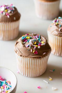 Milk Chocolate Cloud Angel Food Cupcakes