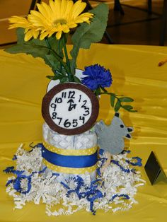 "Nursery Rhyme Baby Shower- ""Hickory Dickory Dock"" Centerpiece  Desired Memories- Like what you see? Visit https://www.etsy.com/shop/DesiredMemories?ref=hdr_shop_menu# And request a custom order!"