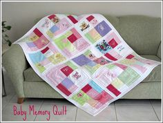 Baby Memory Quilt using old baby clothes once they grow out of them! Love this idea!