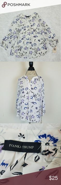 Beautiful New Ivanka Trump Blouse Off White with lilac, Black,  Blue and Pink floral pattern. Medium Size. Long Sleeve. NWT Ivanka Trump Tops Blouses