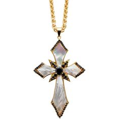 M2 By Matthew Campbell Laurenza Gold Cross Necklace ($399) ❤ liked on Polyvore featuring jewelry, necklaces, gold, pendants & necklaces, black cross necklace, gold tone necklace, long pendant necklace and black gold necklace