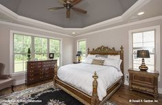 Master bedroom with a dome ceiling!The Calypso house plan 1141. #wedesigndreams #dongardnerarchitects