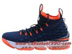 new arrival fa0e2 8bcc2 Nike LeBron 15 XV Chaussures Nike Prix Pas Cher Pour Homme Officiel 2018  Bleu Orange