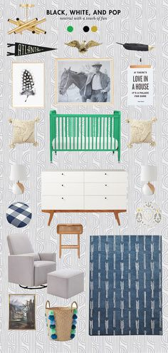 I'm working on a baby boy nursery right now, and here is some of the inspiration behind the room. How amazing is that adhesive wallpaper? I also love those large feathers – would make such a fun statement. I can't wait to get it up in the room – and that punchy green crib is […]