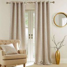 Dunelm Textured Fully Lined Champagne Brown Patterned Texture Richmond Eyelet Curtains - New Ideas Lounge Curtains, Curtains Dunelm, Lined Curtains, Curtains Living, Bedroom Curtains, Natural Curtains, Brown Curtains, Gold Curtains, Cream Curtains