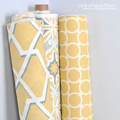 Premier Prints fabric for rooms with yellow, gray and light blue decor. Prints include quatrefoil and geometric.