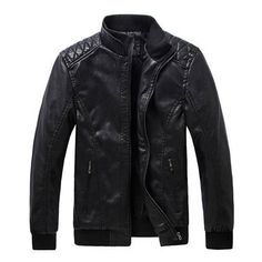 Men's Motorcycle Black PU Leather Jacket Washing Stand Collar Slim Fit... ($40) ❤ liked on Polyvore featuring men's fashion, men's clothing, men's outerwear, men's jackets, men, jackets, leather jacket, male clothes, mens motorcycle jackets and mens slim fit motorcycle jacket
