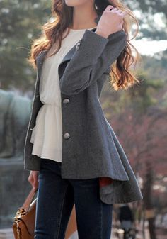 Asymmetric Fit-and-flare Blazer - Grey - Lapel Detailing Outwear