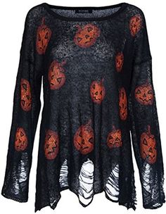 Women Funny Halloween Pumpkin Long Sleeve Loose Knitted Sweater Jumper PulloverProduct Details: *Knit blend Loose Fit Style*Hand/Machine Wash Cold WaterDry FlatNot Bleach*Pumpkin Pattern Hollow Ou...