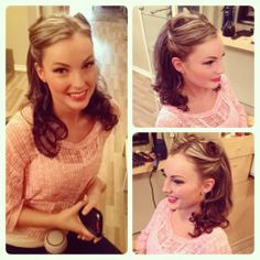Retro hair and makeup done by Lexi Whitewall Victory Rolls, Retro Hairstyles, Red Lips, Pinup, Curls, Hair Makeup, Fashion, Roller Curls, Moda