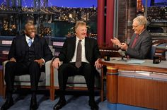 Basketball legends Magic Johnson (left) and Larry Bird (center) talk with Dave (right) about their friendship and their rivalry on the court when they visit the Late Show with David Letterman Wednesday, April 11, 2012