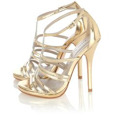 Karen Millen FN175 Strappy metallic sandal Gold ❤ liked on Polyvore featuring shoes, sandals, heels, sapatos, high heels, strappy high heel sandals, high heel sandals, gold heel shoes, gold high heel shoes and gold shoes