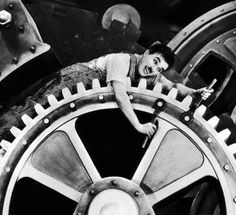 Charlie Chaplin decided to make Modern Times a silent film to add to the theme of the movie: economy SCRIPT economy Charlie Chaplin, Ben Chaplin, Vhs, Cassette, Indiana Jones, Operations Management, Modern Times, Silent Film, Classic Movies