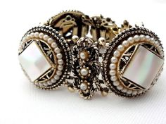 Carved Mother of Pearl Victorian Revival Silver tone Vintage MOP Bracelet | eBay