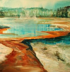 Yellowstone Pool  One of a kind Original  by originalpaintingonly