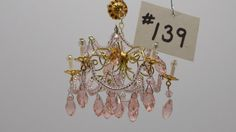 1:12 Scale Non-Electric Dollhouse Crystal Chandelier Handmade