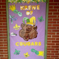 My Mardi Gras door.   class crafts   Classroom door ...