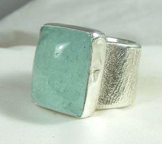 Aquamarine gemstone ring sterling silver chunky ring by Marajoyce, $140.00