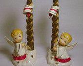 HTF Vintage Holt Howard porcelain Angel Choir Boy boys figurine Candle Holder Jingle Bell Candle Hugger holders Huggers Japan Plastic Candle