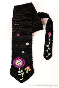 Mark-Mari: Черный галстук...A pretty flower embellished tie...graph pattern only!