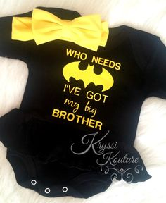 Who Needs Batman I've got my Big Brother © Batman Dress - Sister Batman Shirt - Big Brother - Batman Suit - Superhero Shirt - Baby Shirt Batman Dress, Batman Shirt, Big Brother Little Sister, Baby Sister, Big Brother Gifts, Baby Batman, Batman Baby Stuff, Batman Baby Clothes, Baby Shirts