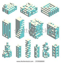 Vector set of abstract buildings made of isometric cubes, architectural constructor