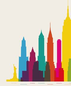 Colorful Poster of NYC's Colossal Buildings - My Modern Metropolis by Yoni Alter