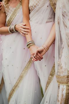 Gorgeous pale pink and gold lehengas for a Hindu ceremony. Anuradha Singh. Photography: Amy Campbell - amycampbellphotography.com/