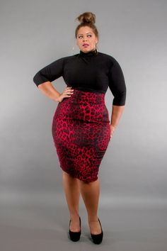 JIBRI Plus Size High Waist Pencil Skirt Red Hot by jibrionline, $95.00