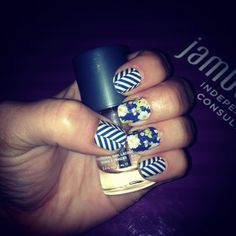 Twilight Blossoms with Slatted Herringbone  amandaflynn120.jamberrynails.com
