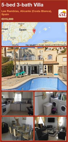 5-bed 3-bath Villa in Las Ramblas, Alicante (Costa Blanca), Spain ►€315,000 #PropertyForSaleInSpain