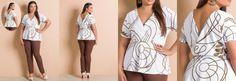Conjunto Blusa e Calça Branco e Marrom Plus Size