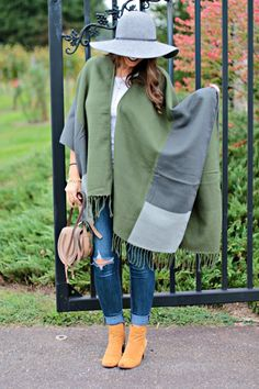 Colorblock Reversible Poncho
