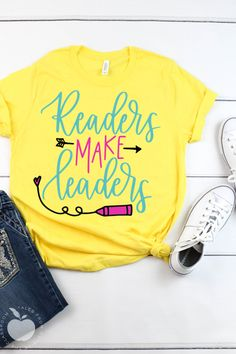 Readers Make Leaders Short-Sleeve Unisex T-Shirt - Teacher Shirts - Ideas of Teacher Shirts - Encourage reading in your classroom with this adorable Readers Make Leaders tee. This teacher tee perfect for teachers librarians IA's and administrators.