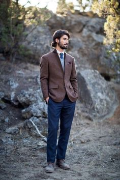 Dress your groom in cozy brown, light blue and navy suiting for a rustic, autumnal appropriate look | image by Leighanne Herr