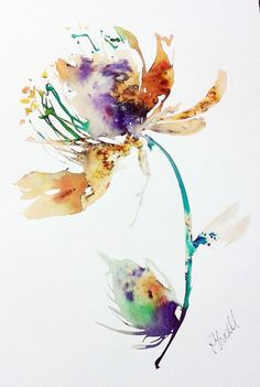 Original Artwork Painting. Unique Watercolour and Ink Paradise Island fantasy flower illustration