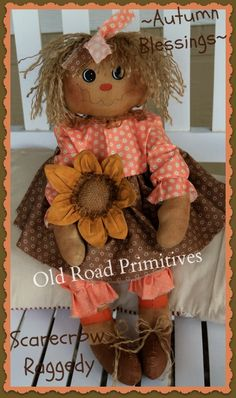 ***NEW*** Autumn Blessings Scarecrow Raggedy Pattern-Fall Raggedy,Halloween Raggedy,Scarecrow Raggedy,ePattern,Old Road Primitives,